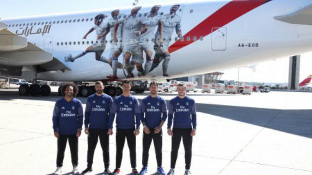 eaf7848e914 Emirates presenta su A380 del Real Madrid en Barajas