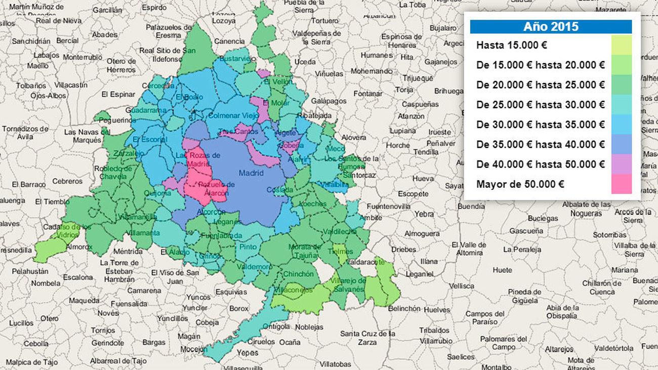 Municipios De Madrid Mapa.Seis Municipios Madrilenos Entre Los 10 Espanoles Con Mayor