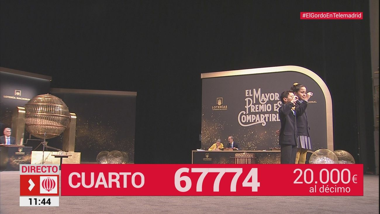 El 67.774, segundo cuarto premio del Sorteo de Navidad, cae en Madrid