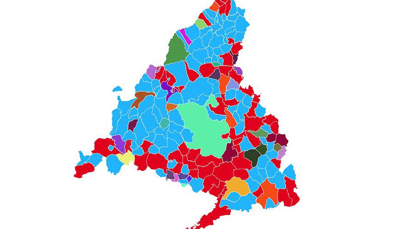 Mapa Comunidad De Madrid Politico.El Mapa De Colores De Los Municipios De Madrid
