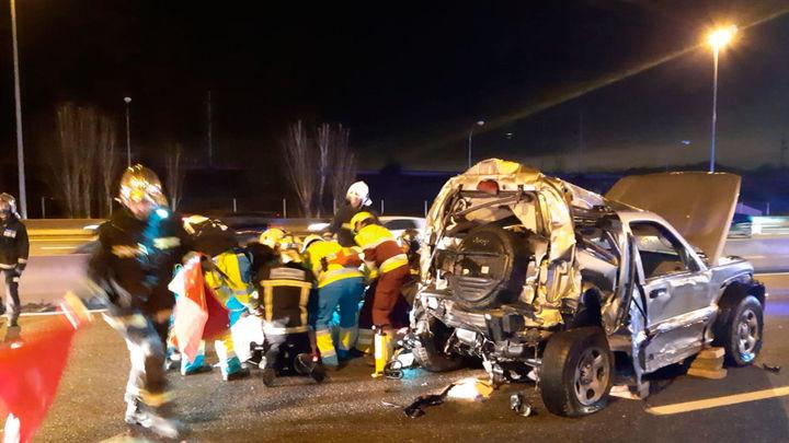 Seis heridos leves en un accidente múltiple en la entrada a Madrid por la A-6 en Las Rozas