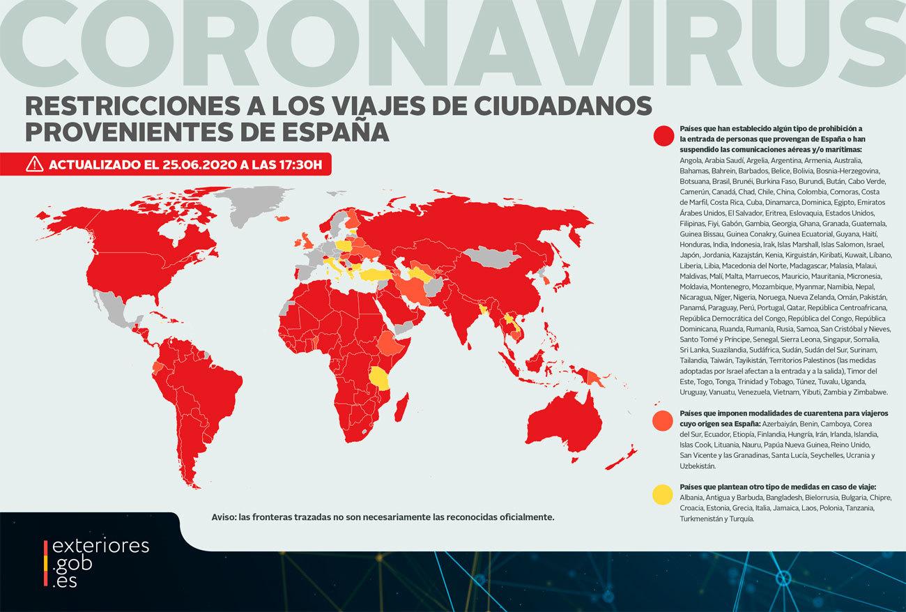 Mapa de países que mantienen restringida la entrada a viajeros procedentes de España (actualizado a 25 de junio) / Ministerio de Asuntos Exteriores
